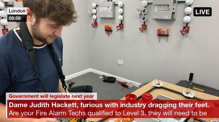 Jack studying for level 3 fire alarm engineer qualifications
